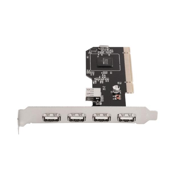 Carte PCI - USB 2.0 - 4 Externes + 1 Interne