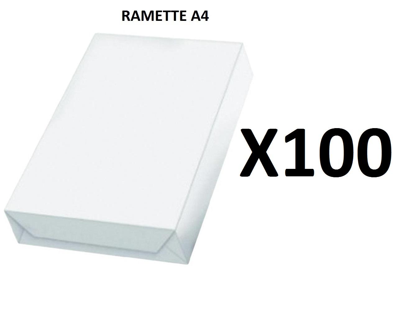 Ramette Papier A4 - 80Grs - Blanc - 500 Feuilles - X100