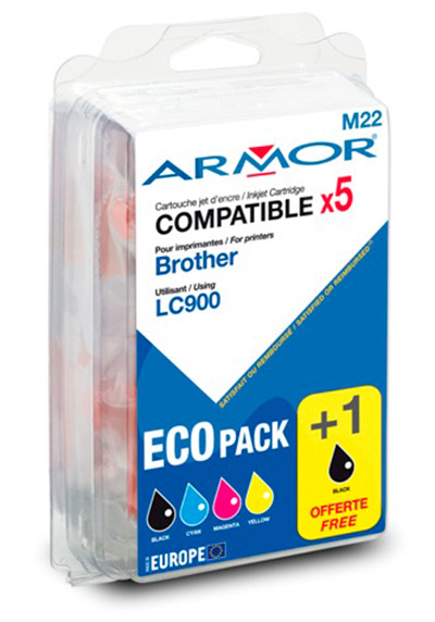 Pack Cartouche Générique LC900BK X2+C+M+Y