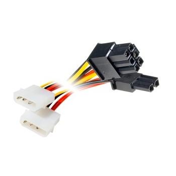 Câble 2X Molex (F) / PCI-E (M) 6+2pins - 15 cms
