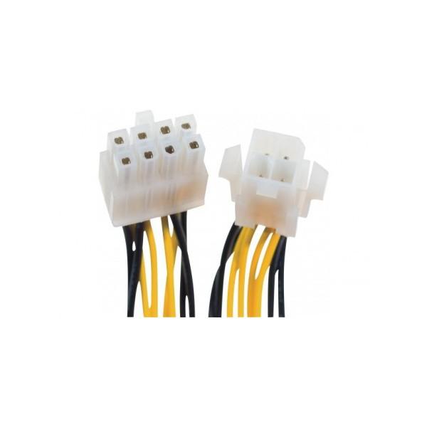 Câble ATX P4 4 Pins (F) / SSI 8 Pins (M) - 10 Cms