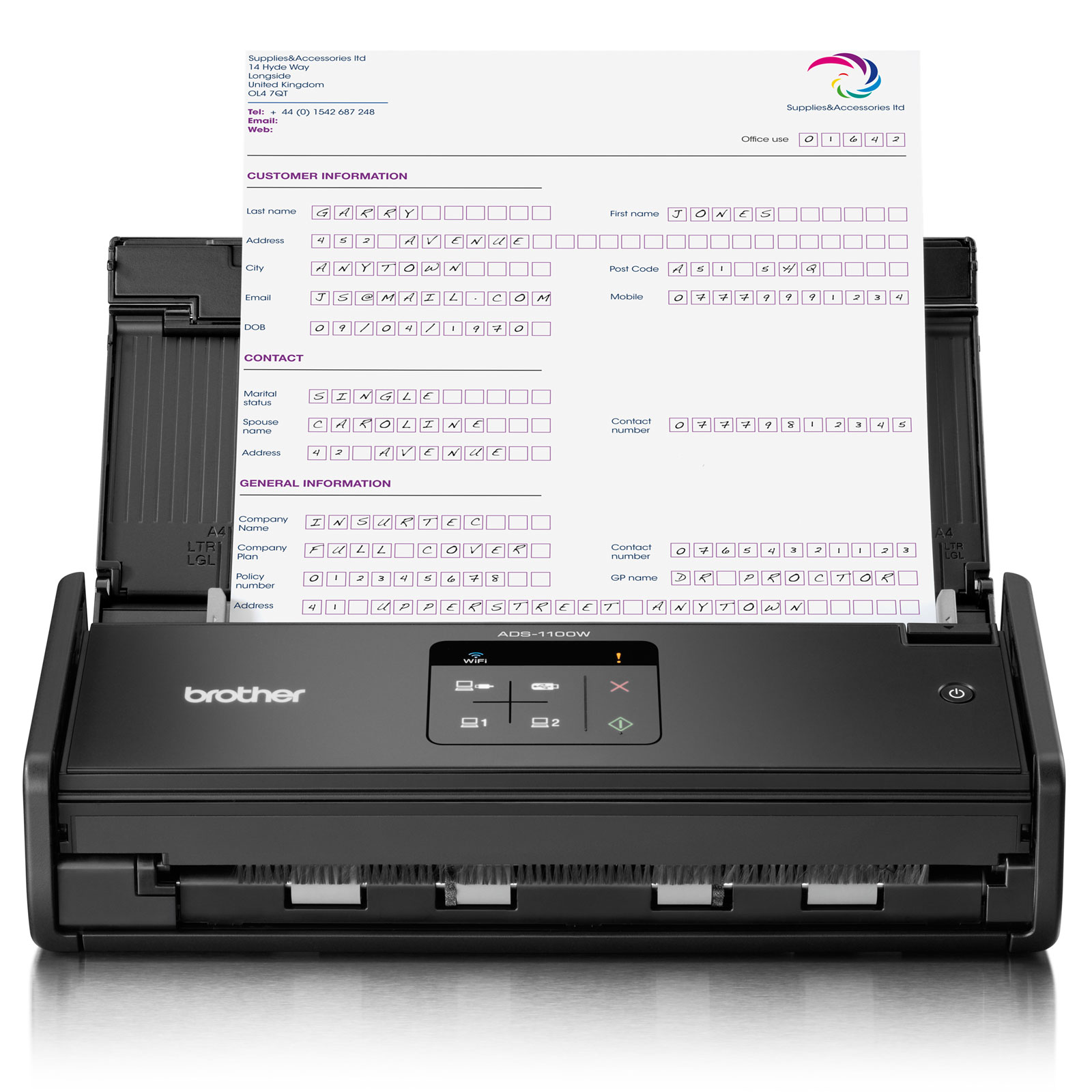 Scanner Brother ADS-1100W - A4 - Recto Verso