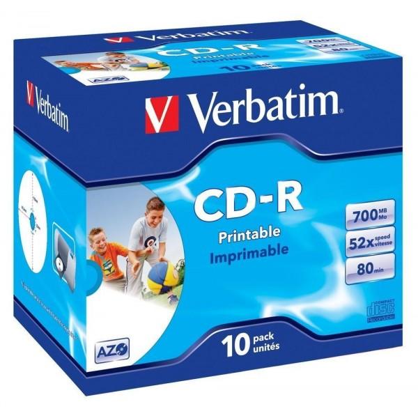 Boite de 10 CDs Verbatim - 700 Mo - Imprimable