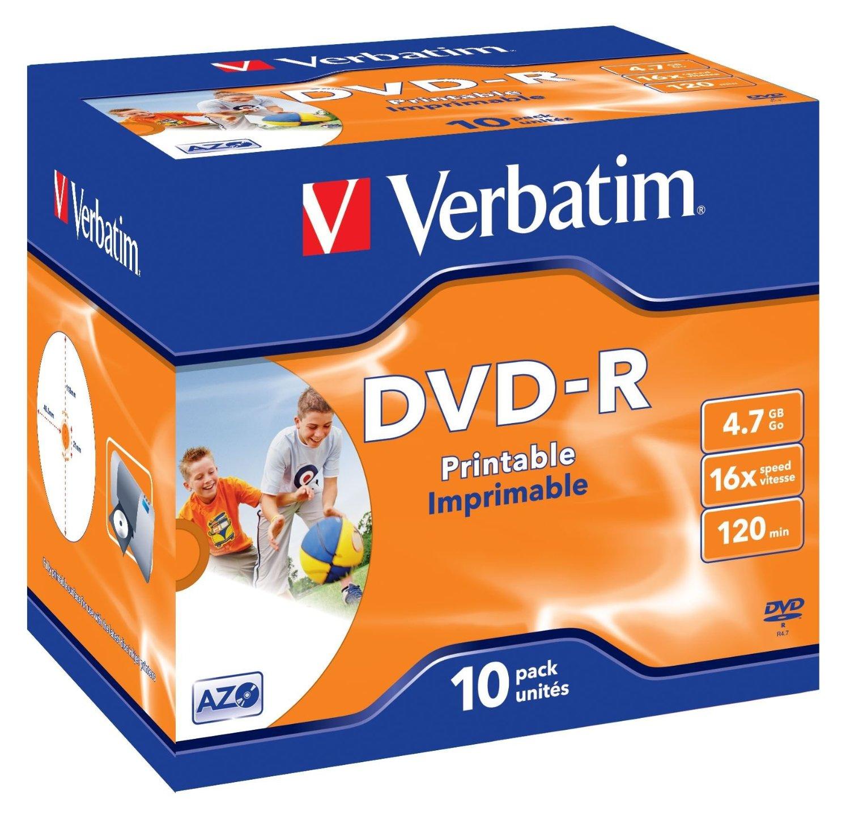 Boite de 10 DVD-R Verbatim - 4.7 Go - Imprimable