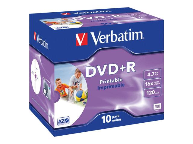 Boite de 10 DVD+R Verbatim - 4.7 Go - Imprimable