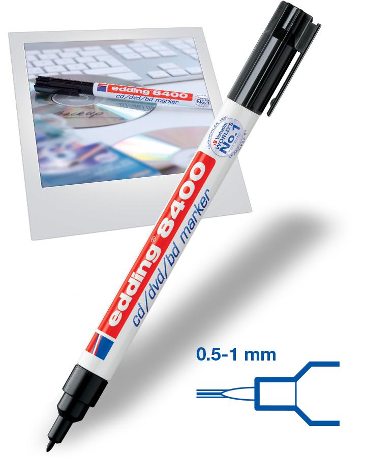 Marqueur pour CD/DVD Edding 8400 - Noir