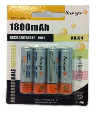 4 Piles Rechargeables - AA - 1800 mAh