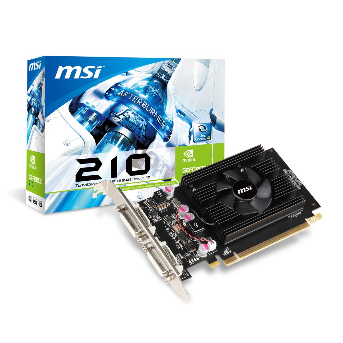 Carte Video PCI-E - GeForce N210 - 1Go